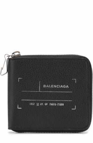 Кожаное портмоне на молнии с отделениями для кредитных карт Balenciaga. Цвет: черный