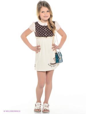 Платье Lucky Child. Цвет: темно-коричневый, бежевый