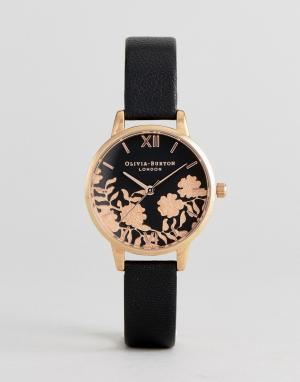 Olivia Burton Часы с черным кожаным ремешком OB16MV75. Цвет: черный