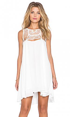Цельное платье с вышивкой крошё rainbow Toby Heart Ginger. Цвет: белый