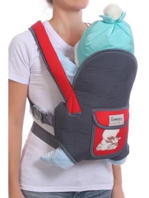 Слинг-рюкзак M-BABY. Цвет: серый, красный
