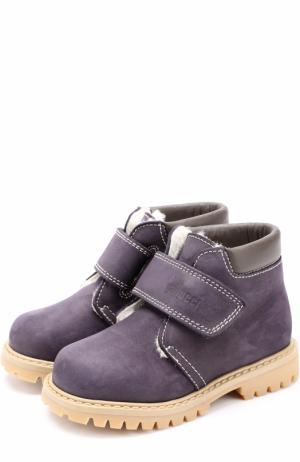 Кожаные ботинки с внутренней меховой отделкой Gallucci. Цвет: синий