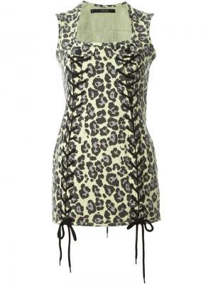 Платье с леопардовым принтом Sibling. Цвет: жёлтый и оранжевый