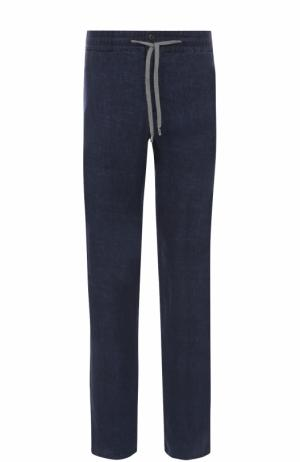 Льняные брюки прямого кроя Cortigiani. Цвет: темно-синий