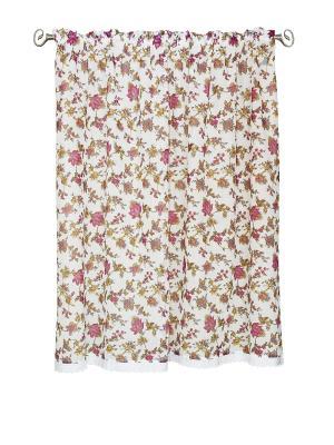 Штора короткая с кружевом Луговые цветы 145*180 IZKOMODA. Цвет: розовый, белый