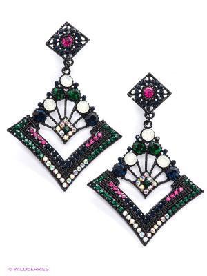 Серьги Lovely Jewelry. Цвет: зеленый, фуксия, синий
