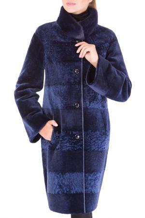 Прямая шуба с воротником-стойка ALIANCE FUR. Цвет: синий