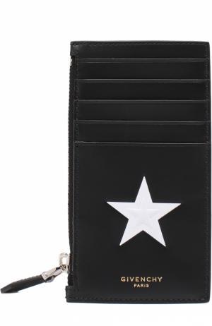 Кожаный футляр для кредитных карт с отделением монет Givenchy. Цвет: черный