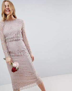ASOS Кружевное платье-футляр миди с длинными рукавами WEDDING. Цвет: бежевый