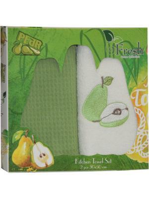 Кухонные полотенца в подарочной коробке ЛЮКС  2 шт., 30х50 см, 100% хлопок Dorothy's Нome. Цвет: светло-зеленый, бежевый
