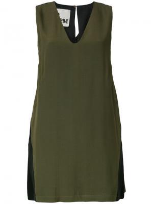 Приталенное платье с разрезом 8pm. Цвет: зелёный