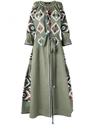 Платье с вышивкой Fatimas Eye Vita Kin. Цвет: зелёный