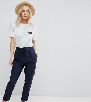 ASOS Petite Тканые брюки-галифе с поясом оби. Цвет: темно-синий
