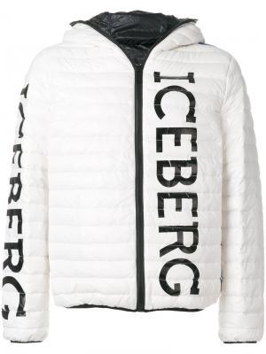 Пуховик с принтом логотипа Iceberg. Цвет: белый