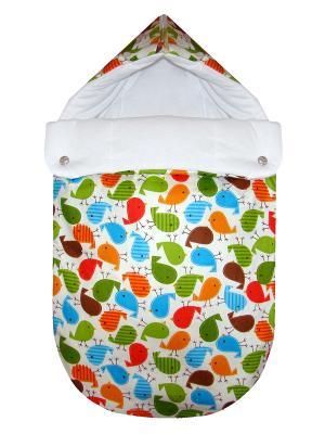 Конверт на выписку JustCute Цыплята (зима) СуперМаМкет. Цвет: кремовый, белый, синий, зеленый, красный