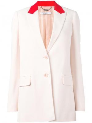 Блейзер с контрастным воротником Givenchy. Цвет: розовый и фиолетовый