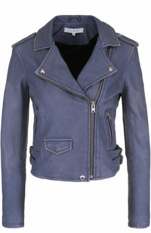 Укороченная кожаная куртка с косой молнией Iro. Цвет: голубой