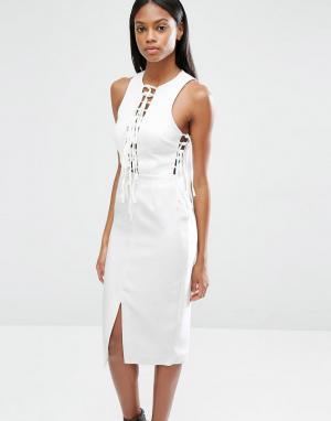 Lavish Alice Платье миди с глубоким вырезом и завязками. Цвет: белый