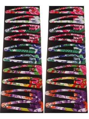 Заколки для волос клип-клап крупные в бело-фиолетовый крупный цветок, набор 20 штук Радужки. Цвет: фиолетовый, белый