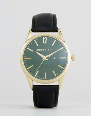 Bellfield Часы с зеленым циферблатом и черным ремешком. Цвет: серый