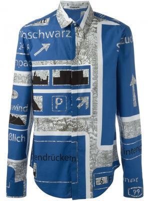 Классическая рубашка с принтом Chalayan. Цвет: синий