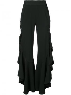 Расклешенные брюки с оборками Jonathan Simkhai. Цвет: чёрный
