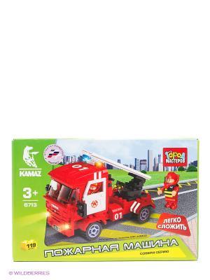 Конструктор Город мастеров пожарная машина. Цвет: красный, белый