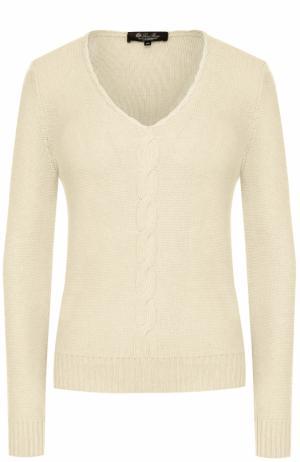 Кашемировый пуловер с V-образным вырезом и фактурной отделкой Loro Piana. Цвет: кремовый