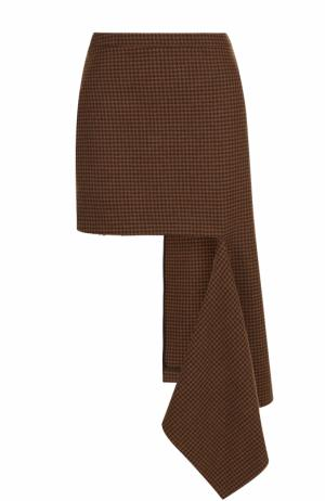 Шерстяная мини-юбка асимметричного кроя Balenciaga. Цвет: коричневый