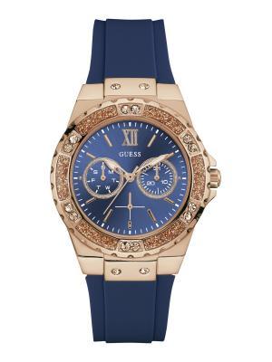Часы GUESS. Цвет: темно-синий, золотистый, розовый