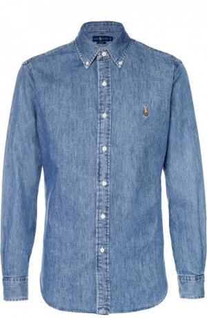 Джинсовая рубашка с воротником button down Polo Ralph Lauren. Цвет: синий