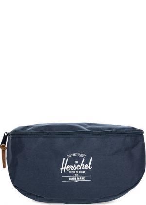 Синяя поясная сумка из текстиля Herschel. Цвет: синий