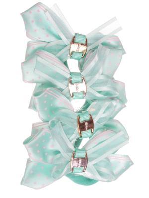 Резинки бантики со звездочкой, бирюзовый, набор 4 шт Радужки. Цвет: бирюзовый