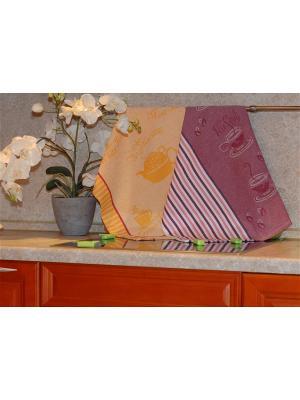 Набор жаккардовых полотенец 50х70 2 штуки SET-8 (Чай,Чай Маэстро) в пакете ТекСтиль для дома. Цвет: желтый, белый, розовый, сливовый
