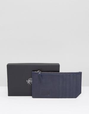 Saville Row Кожаная кредитница с внутренней частью цвета металлик. Цвет: синий