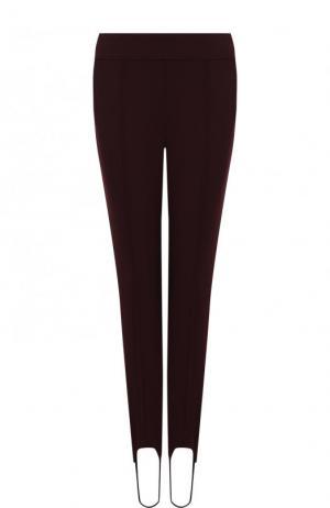 Однотонные шерстяные брюки со штрипками BOSS. Цвет: бордовый
