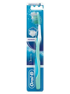 Зубная щетка Oral B 3D White Отбеливание 40 средняя 1шт. ORAL_B. Цвет: белый, светло-голубой