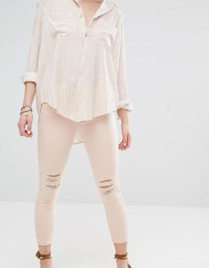 Vero Moda Petite Укороченные зауженные джинсы. Цвет: кремовый