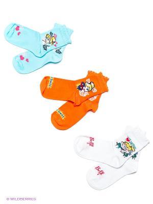Носки 3 пары Master Socks. Цвет: белый, голубой, оранжевый