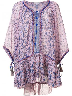 Сарафан с цветочным узором Poupette St Barth. Цвет: розовый и фиолетовый