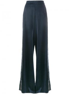 Широкие брюки с вышивкой Lot78. Цвет: синий