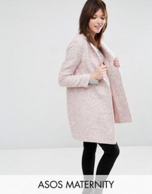 ASOS Maternity Пальто слим для беременных. Цвет: розовый