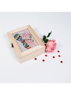 Набор для вышивания. Шкатулка этномедвежонок Матренин Посад. Цвет: розовый, бежевый, желтый, серый