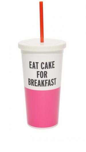 Стакан Eat Cake For Breakfast Kate Spade New York. Цвет: розовый/черный/белый