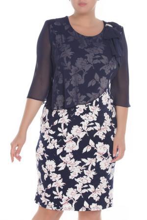 Платье средней длины с шифоновой накидкой Caprice. Цвет: темно-синий, розовый