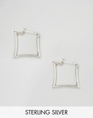 Kingsley Ryan Квадратные серьги-кольца. Цвет: серебряный