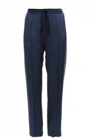 Шелковые брюки в пижамном стиле с эластичным поясом и лампасами Chloé. Цвет: темно-синий