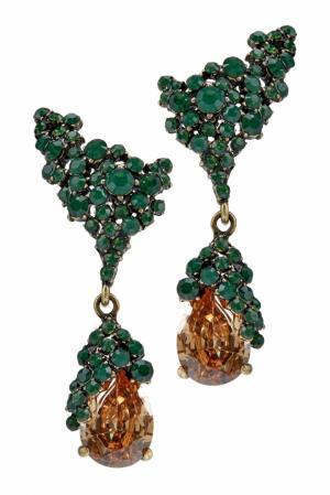 Серьги с кристаллами Herald Percy. Цвет: зеленый