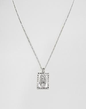 Chained & Able Серебристое ожерелье с Марией Гваделупской на подвеске. Цвет: серебряный