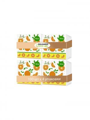 Набор из 4-х упаковок однослойных салфеток с принтом Апельсины, 4х100шт Bulgaree Green. Цвет: белый